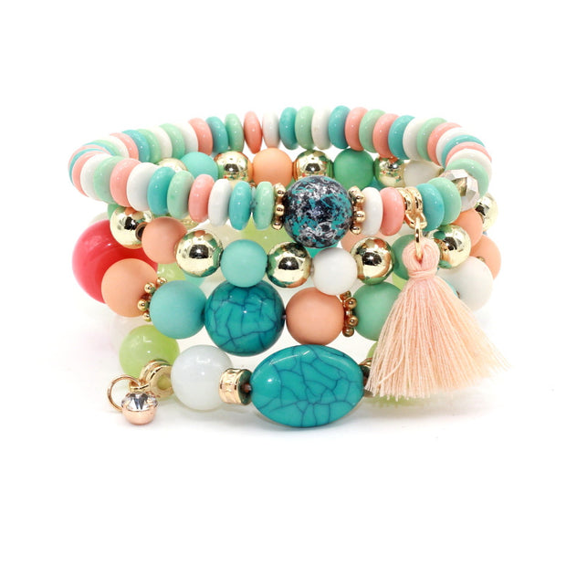 4pcs/set Multilayer Crystal Candy Tassel Bracelets