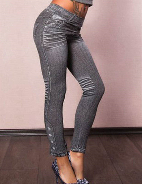 Gray Fashion Style Demin Jeans Legging