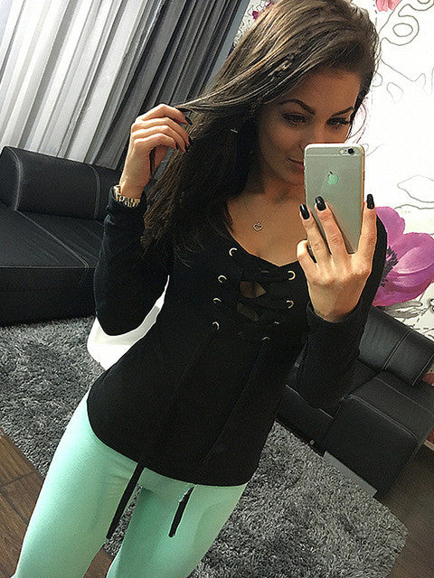New Fashion Sexy Lace Up Tops