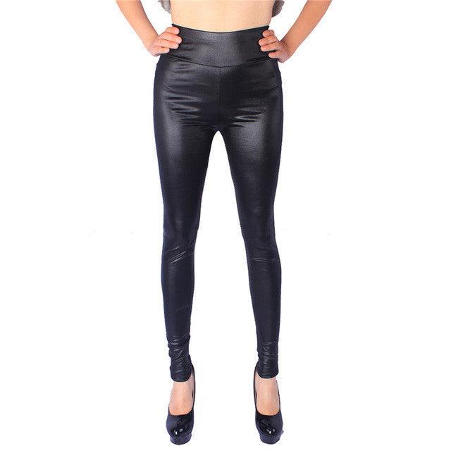 High Elastic Thin Faux Leather Leggings