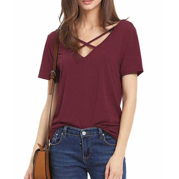 Front Cross Loose Cotton V-neck Sexy Tops
