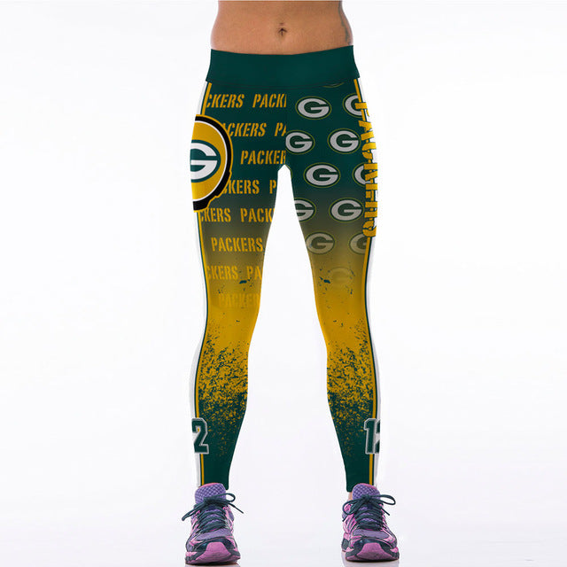 Fashion Active Women Sporting Leggings Sexy Fitness Pants American Style Gothic Wide Waisted Band Workout Clothing Sportswear