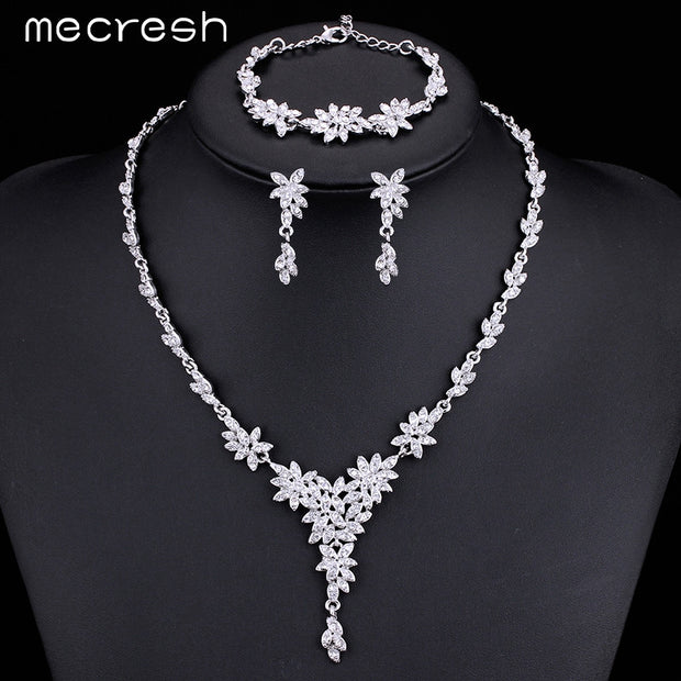 Leaf Crystal Rhinestone Jewelry Sets