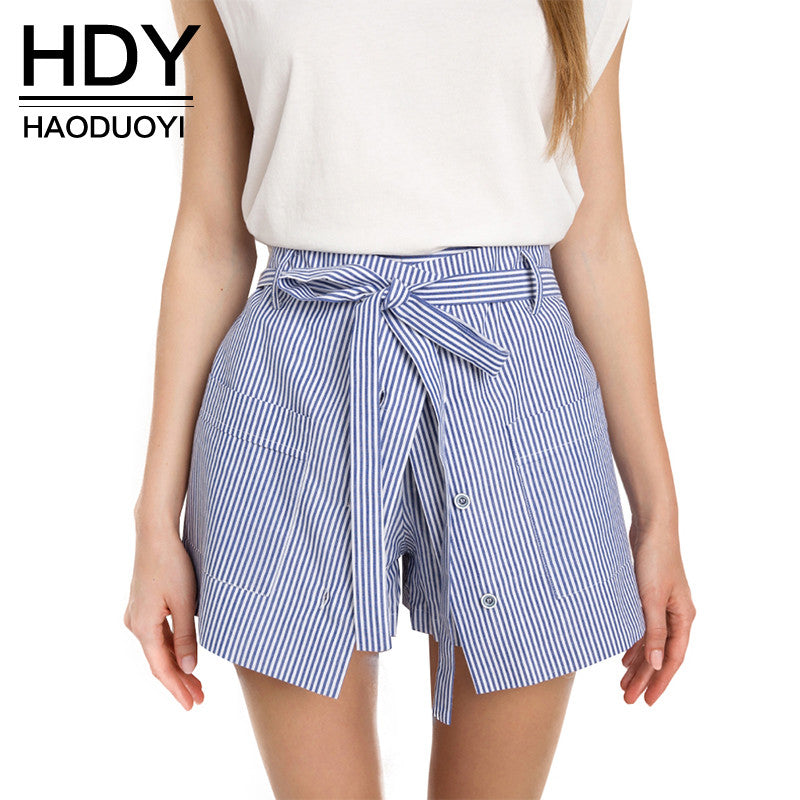 2017 Summer Striped Cotton Shorts