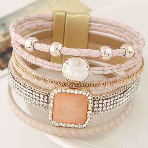 Gem Rhinestone Magnetic Leather Bracelets