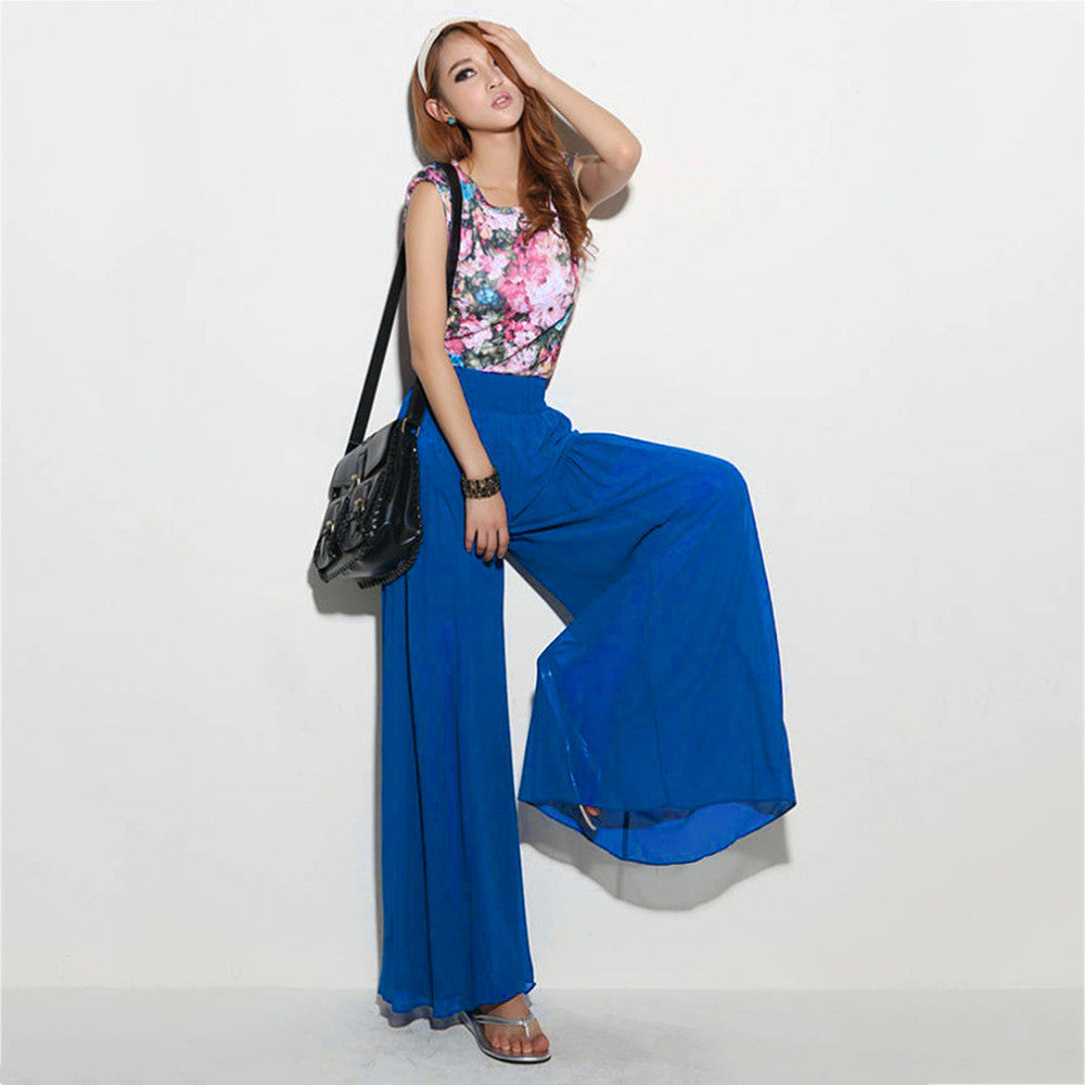 Fashionable Design High Waist Loose Long Pants