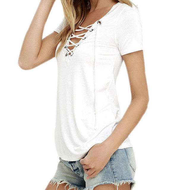Sexy V Neck Hollow Out Lace Up Top