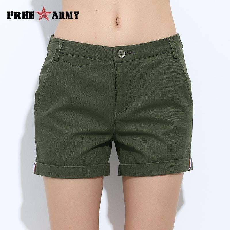 Slim Fitted Military Cotton Shorts