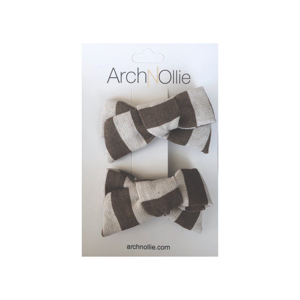 August Linen Chocolate Stripes - Piggy clips