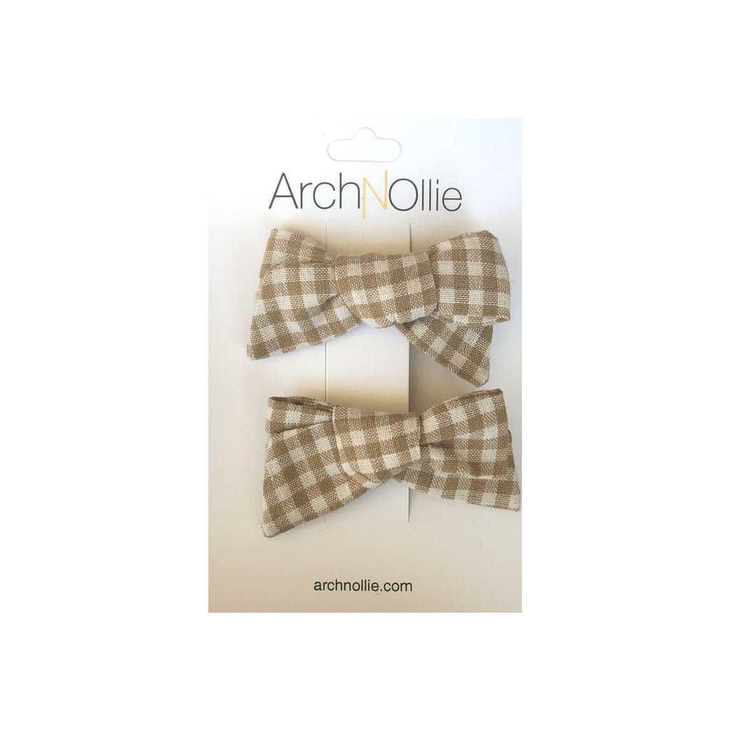 August Linen Latte Gingham - Piggy clips