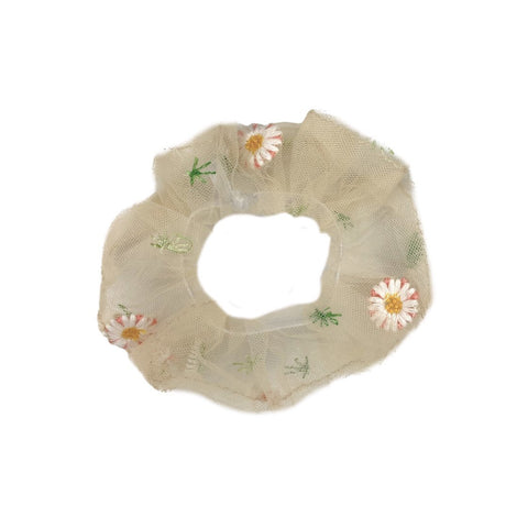 Embroidered daisy scrunchie