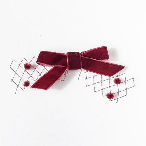 Plush - Velvet Bow on pom pom tulle