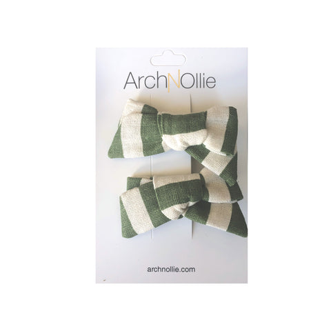 August Linen Olive Stripe - Piggy clips