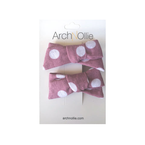 August Linen Mauve Big Polka - Piggy clips