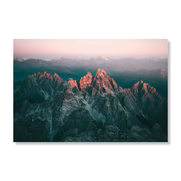 Wandbild First Light upon the Dolomites