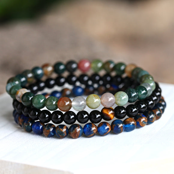 Handmade Multi-colored Semi-Precious Stone Bracelet (3-Pc Set)
