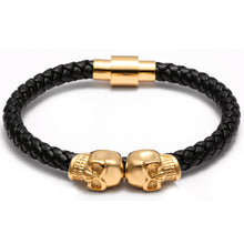 Double Skull Leather Bracelet (4 styles)