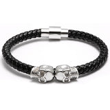 Luxury Handmade Titanium Double Skull Genuine Leather Bracelet
