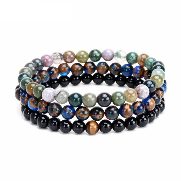 Luxury Handmade 6mm Natural Black Stone Spiritual Beads Bracelet 3-Piece Set