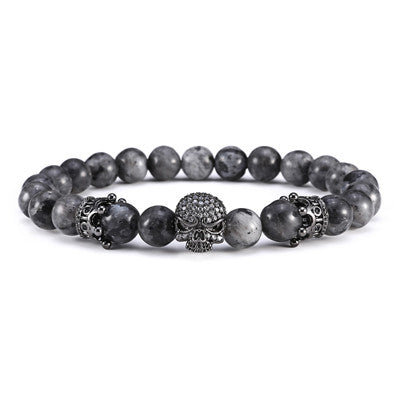 Luxury Handmade Gun Black Crown Skull Semi-precious Natural Stone Spiritual Beads Bracelet