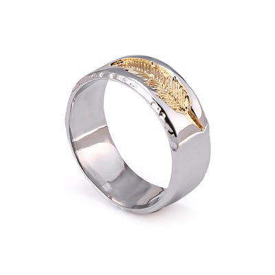 Stainless Steel Ring with Feather Imprint (2 styles)