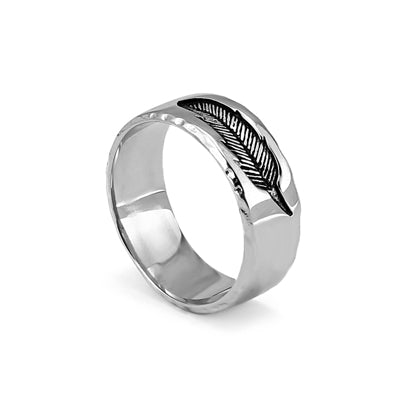 Feather Imprint Titanium Steel Ring (2 styles)