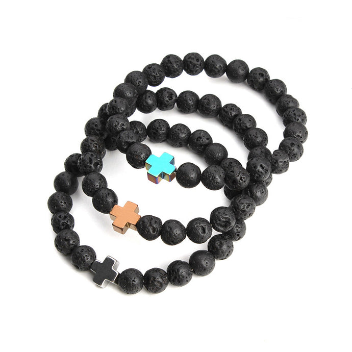Cross Semi-Precious Stone Bracelet (5 colors)