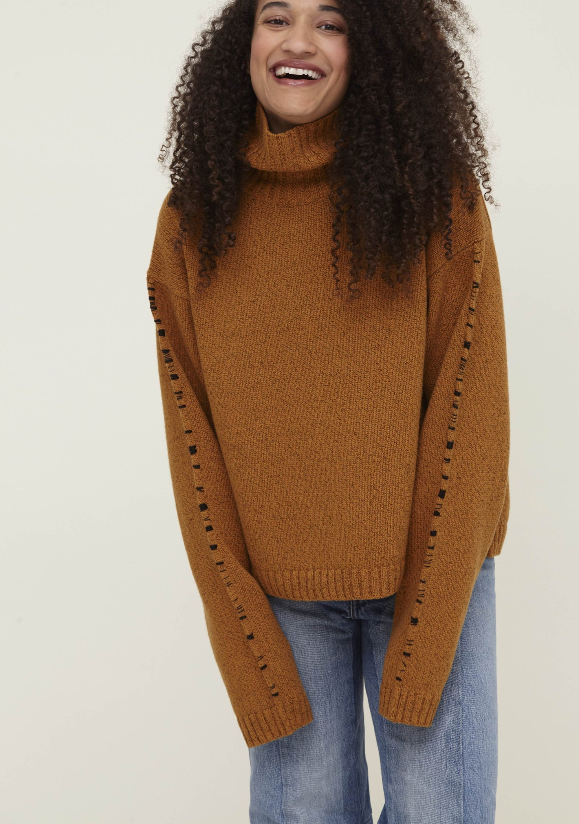 Orange Wool Turtleneck Sweater - Corenna