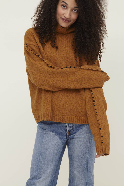 Corenna Wool Turtleneck Sweater Orange