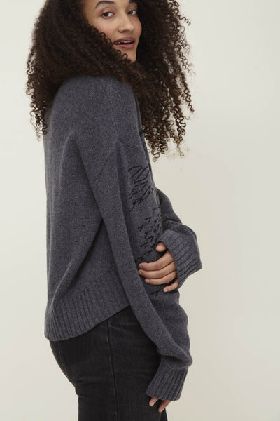 Grey Wool Blend Crew Neck Sweater - Pan