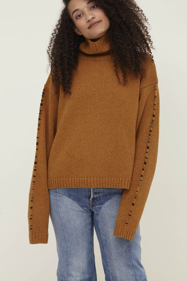 Orange Wool Turtleneck Sweater Corenna