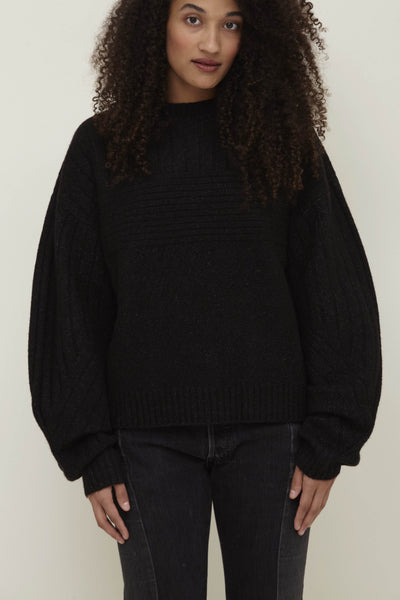 Black Wool Blend Crew Neck Sweater - Talia