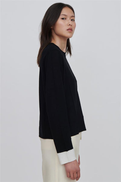 Black Fine Merino Wool Sweater With White Trim - Ackely