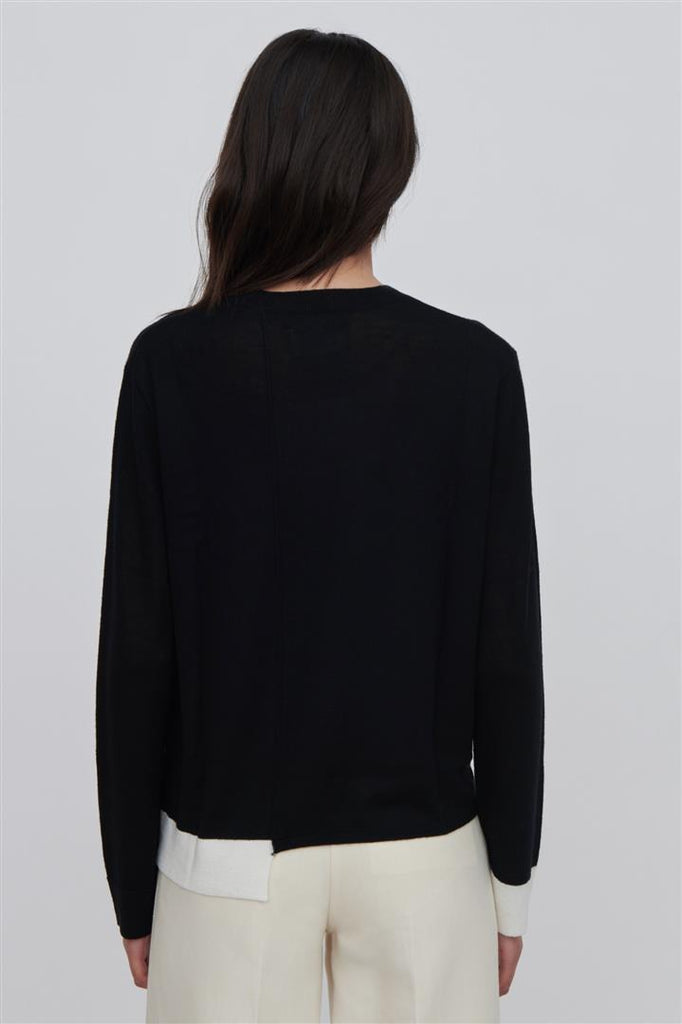 Ackely Fine Merino Wool Sweater Black With White Trim