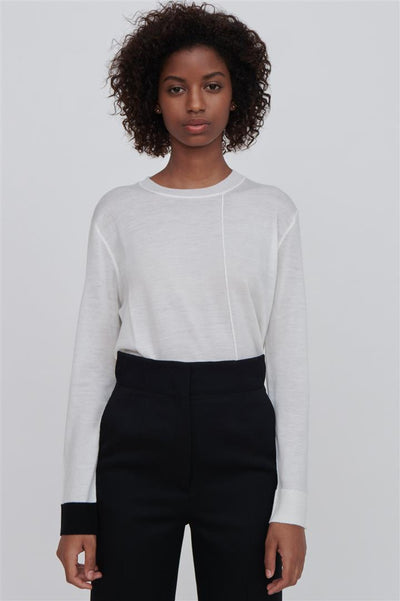 White Fine Merino Wool Sweater With Black Trim - Ackely