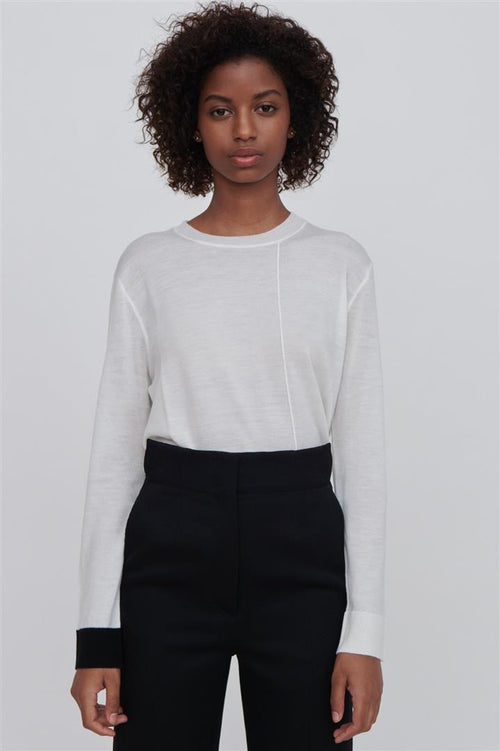 Ackely Fine Merino Wool Sweater White With Black Trim