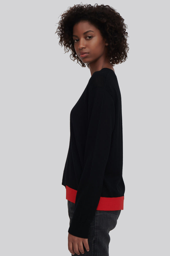 Ackely Black Fine Merino Wool Sweater with Red Trim
