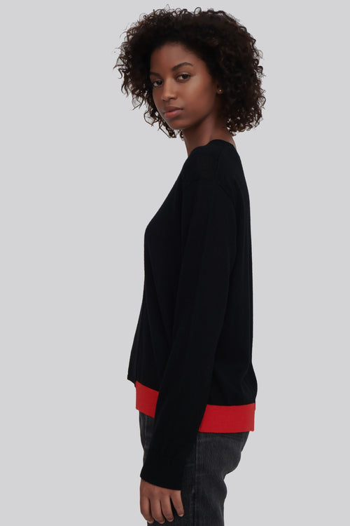 Ackely Fine Merino Wool Sweater Black With Red Trim