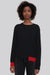 Black Fine Merino Wool Sweater with Red Trim - Ackely