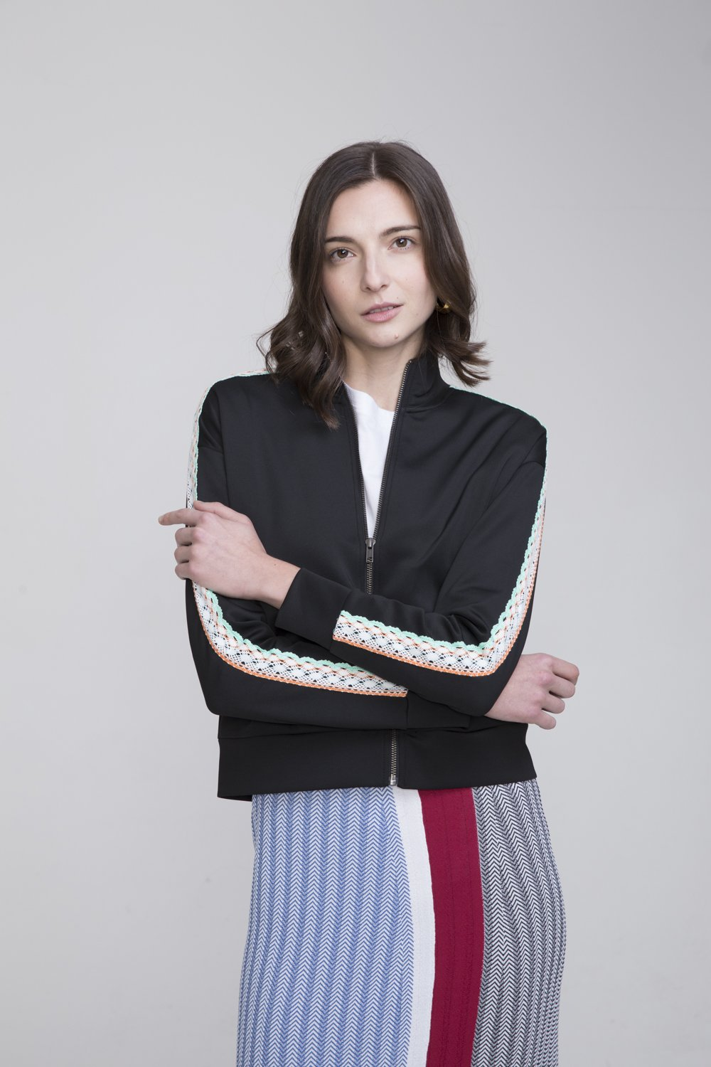 Alisan Black Polyester Track Suit Jacket
