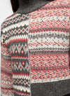 Grey Wool Blend Mock Neck Fair Isle Sweater - Arianna