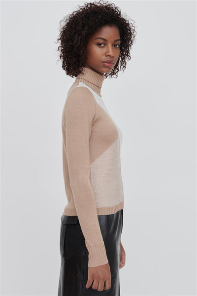 Beige Fine Merino Wool Silk Sweater - Bella