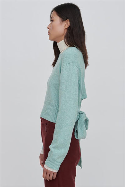 Green Cotton Blend Sweater Bleu