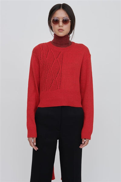Red Cotton Blend Sweater - Bleu
