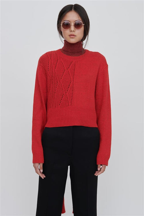 Bleu Cotton Blend Sweater Red