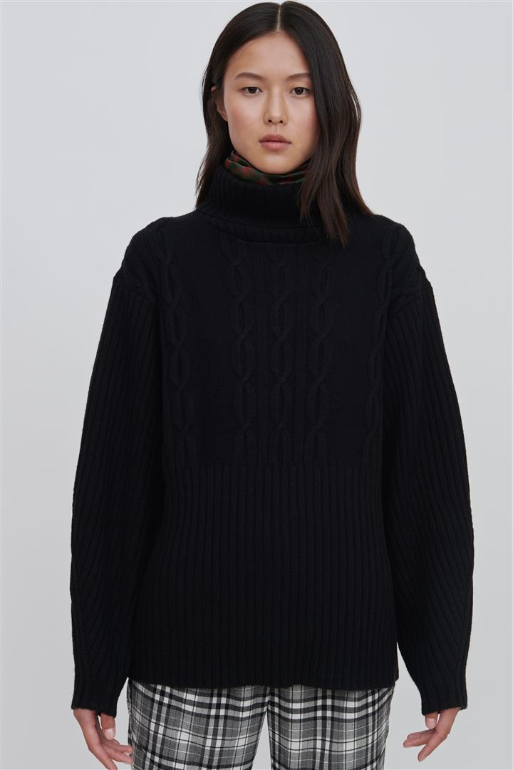 Black Wool Turtleneck Sweater - Cheryl