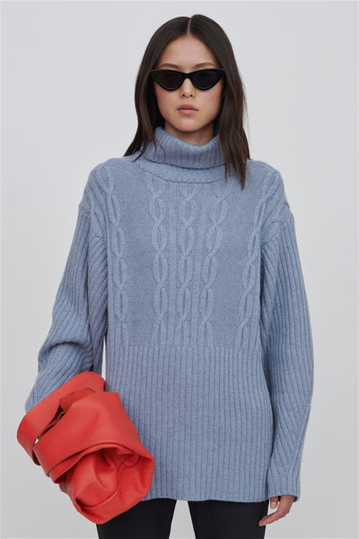 Blue Wool Turtleneck Sweater - Cheryl