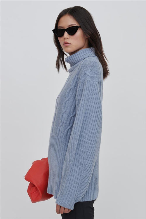 Cheryl Superfine Wool Sweater Blue