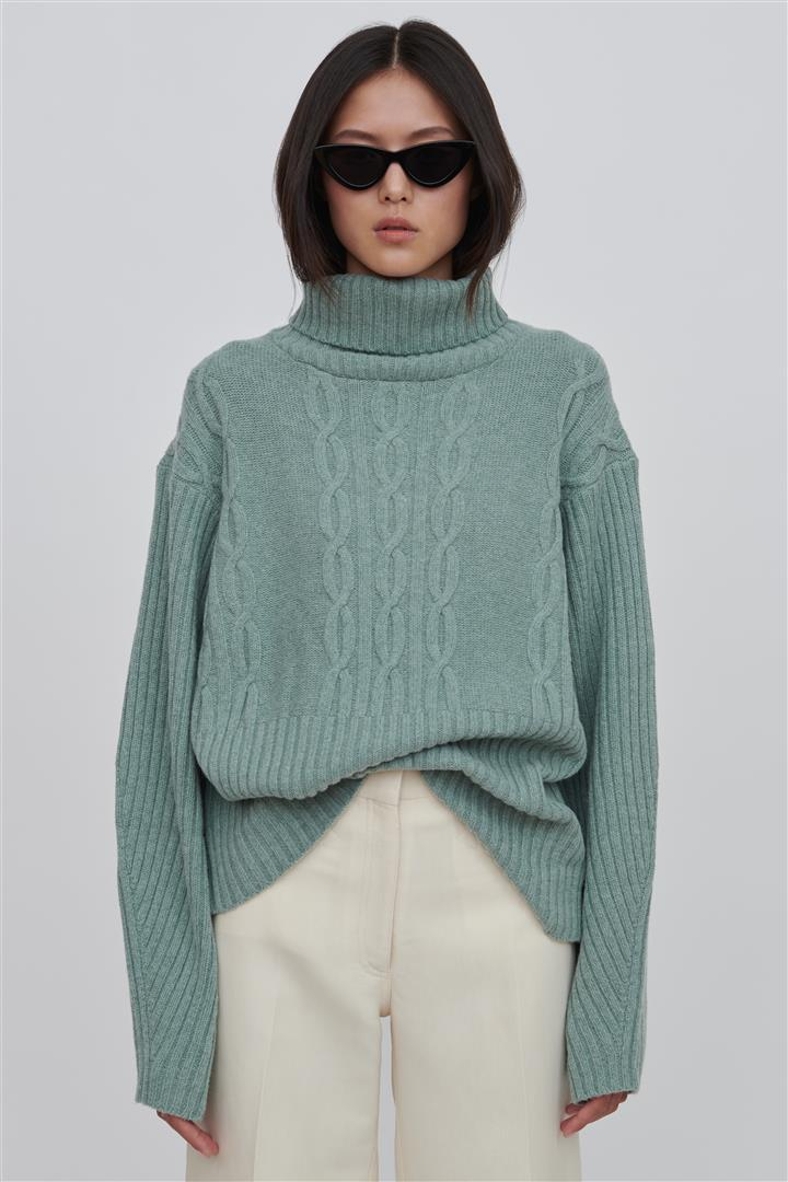 Green Wool Turtleneck Sweater - Cheryl