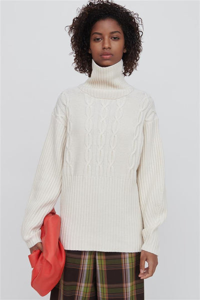 White Wool Turtleneck Sweater - Cheryl
